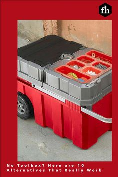 No Toolbox? Here are 10 Alternatives That Really Work Workshop Storage, Tool Storage, Pegboard Organization, Organizing, Truck Tool Box, Tool Tote, Milwaukee Tools, Toolbox, Storage Solutions