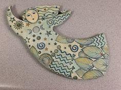 moon dancer clay figure by Sue Davis . Clay Art Projects, Ceramics Projects, Ceramic Clay, Ceramic Pottery, Clay Angel, Keramik Design, Clay Birds, Ceramic Angels, Clay Ornaments