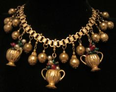 """Rare Vtg 17"""" Early Miriam Haskell Brass Book-Chain Glass Flower Urn Necklace A11"""
