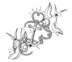 Love this! Great for a couples tattoo. Anchor= he's the one that keeps me grounded swallow birds= love birds