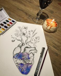 """eva krbdk the anatomical heart with the poppies though *GASP* i actually love it. if i got it on my arm then it would be like """"i wear my heart on my sleeve"""" which is true"""