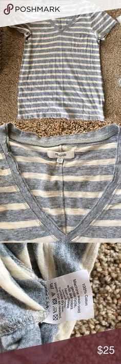 Madewell Cotton Basic Tee Grey and cream striped with cute breast pocket. Super soft and versatile. Only worn once. Madewell Tops Tees - Short Sleeve