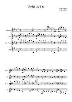 Sheet music made by manflute2014 for 4 parts: Piccolo, Flute, Alto Flute (But they mixed up the alto flute and flute part)