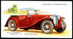 """Player's Cigarettes """"Motor Cars Second Series"""" (set of 50 issued in MG Midget series T Vintage Images, Vintage Cars, Antique Cars, Cadillac Eldorado, Chevrolet Corvette, Bel Air, Mustang, Volkswagen, British Army Uniform"""