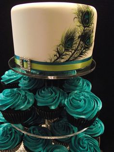 Peacock Cake and Cupcakes: beautiful @Casey Guido