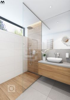 Bathroom Design Tile Walk In Shower Window 65 Super Ideas Master Bathroom Shower, Wood Bathroom, Small Bathroom, Natural Bathroom, Light Bathroom, Mirror Bathroom, Ensuite Bathrooms, White Bathroom, Grey Floor Tiles Bathroom