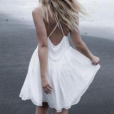 Solid Color V-Neck White Sling Dress