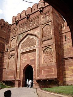 Agra Fort entrance gate.  Agra, INDIA.