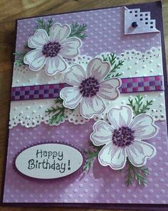 Happy Birthday card purple flowers