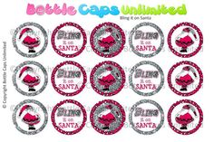 15 Bling it on Santa 2 Download for 1 Bottle Caps 4x6 by MaddieZee, $1.50