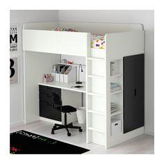 STUVA Loft bed with 3 drawers/2 doors - white/black - IKEA