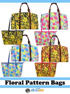 Colorful Floral pattern bags, totes and travel bags  by #Gravityx9 at #ArtsAdd -