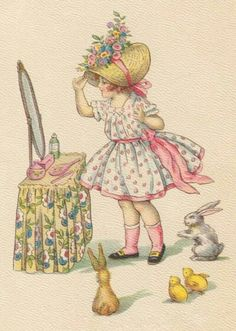 Old Easter Post Card — The Easter Bonnet  (513×720)