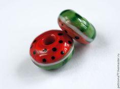 Купить Бусина лэмпворк ручной работы Арбуз для браслета типа Пандора - подарок для женщины, браслет