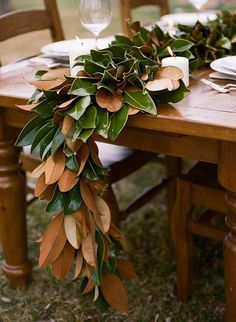 Learn how to make this beautiful magnolia leaf garland from danielle defiore and nature's grace design! Learn how to make this beautiful magnolia leaf garland from danielle defiore and nature's grace design! Magnolia Leaf Garland, Fall Leaf Garland, Magnolia Table, Magnolia Leaves, Magnolia Centerpiece, Greenery Garland, Tall Centerpiece, Magnolia Flower, Garland Wedding