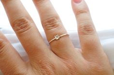 Promise Ring Opal White Stone Promise Ring Band White Gemstone October Birthstone Round Girls Ring Precious Stone Thin Small Ring