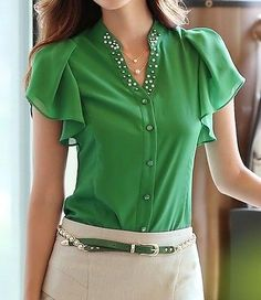 Womens-Beaded-slim-fit-ruffle-OL-Career-Business-blouse-Top-Shirt-short-sleeve