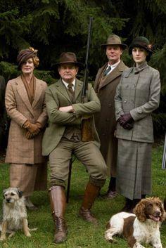 "The stars of ""Downton Abbey"", from left, Samantha Bond, Hugh Bonneville, Iain Glen, and Michelle Dockery."