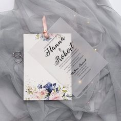 romantic blush and navy flowers vellum layered wedding invitations - Hochzeit Elegant Wedding Invitations, Wedding Invitation Video, Wedding Stationery, Wedding Invite Quotes, Handwritten Wedding Invitations, Wedding Booklet, Original Wedding Invitations, Cheap Invitations, Wedding Invitation Card Design