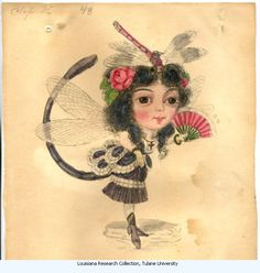 """Demoiselle Fly -Charles BrIton 1873. Costume design from Mistick Krewe of Comus' 1873 """"Missing Links"""" parade? Watercolor on paper."""