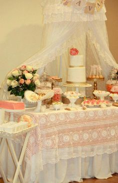 lace vintage baby shower   This charming VINTAGE PEACH AND GOLD BABY SHOWER was submitted by ...