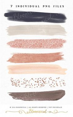 Rose Gold Brush Strokes Clip Art Hand Painted Muted by Bloomsical (Best Blush Asian) Colour Schemes, Wedding Color Schemes, Color Combos, Colour Palettes, Watercolor Clipart, Orquideas Cymbidium, Rose Gold Brushes, Deco Rose, Drawn Art