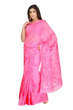 Ada #handembroidered Pink #Cotton #Lucknowi #Chikan Saree With Blouse - A220452 - #AdaChikan