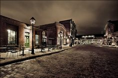 The Distillery District at night, Toronto, Ontario, Canada. Toronto Location, Downtown Toronto, Night Photography, Travel Photography, Moving To Toronto, Toronto Travel, Nostalgia, Canadian Travel, Travel