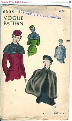 Vogue 6558 Capes, Capelets Pattern, very early 1950's