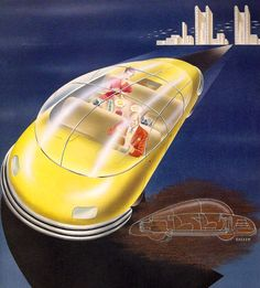 http://chicerman.com  carsthatnevermadeit:  Leo Rackows bubble top car concept from 1948 like Harley Earls it was rear engined but in this one the driver is talking on a hand held phone (illegal in the UK) while the rear seat passenger prepares a light snack  #cars