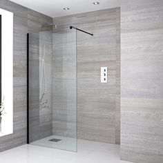 Milano Nero - Wet Room Screen - Black - Choice of Sizes Bathroom Shop, Big Bathrooms, Modern Bathroom, Small Bathroom, Wet Room Shower, Shower Drain, Bathroom Shower Panels, Shower Screens, Glass Shower
