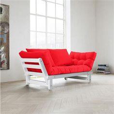 Sofa-cama Beat rojo con estructura color blanco, 75 x 200 cm