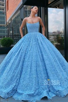 Blue Ball Gowns, Ball Gowns Prom, Ball Gown Dresses, Straps Prom Dresses, Blue Gown, Pretty Quinceanera Dresses, Pretty Prom Dresses, Quince Dresses, Gala Dresses
