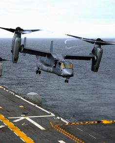 "U.S. Marine Corps MV-22B ""Osprey"" taking off from an aircraft carrier <3"