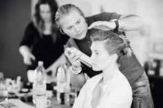 Rinaldo working on model Dite's hair