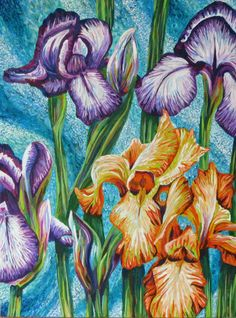 By artist Roz Edwards. Rozartz Contemporary floral paintings: Acrylic painting of 4 Irises. Step by step how this was painted.on the blog post