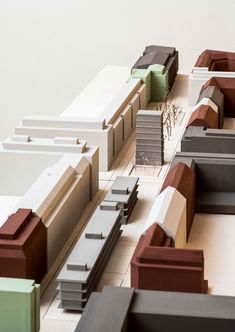 The new buildings create varied spaces with new streets, squares and green spaces. Maquette Architecture, Landscape Architecture Model, Landscape Model, Architecture Plan, School Architecture, Site Model, Arch Model, Architectural Section, Design Model