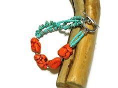 Southwestern Aqua and Orange Turquoise Boho Bracelet. $18.00, via Etsy.