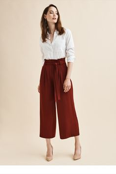 Cute Dresses, Tops, Shoes, Jewelry & Clothing for Women Wide Pants Outfit, Trouser Outfits, Leggings Are Not Pants, Culottes Outfit Work, Casual Work Outfits, Business Casual Outfits, Office Outfits, Work Fashion, Fashion Outfits