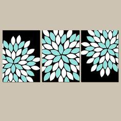 Black Aqua Wall Art CANVAS or Prints Flower Burst por TRMdesign