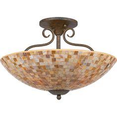 Quoizel Monterey Mosaic 4-light Semi-flush Mount (Malaga), Brown (Glass)