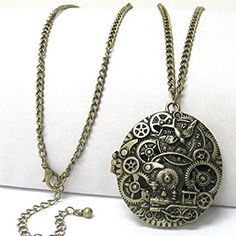 Steampunk Gears and Train Scent Aroma Locket Pendant with 30″ Adjustable Necklace Review
