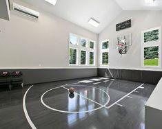 Home basketball court, basketball tricks, sports court, indoor gym, home . Home Basketball Court, Basketball Room, Sports Court, Basketball Shooting, Home Gym Design, Dream Home Design, House Design, Dream Home Gym, Best Home Gym