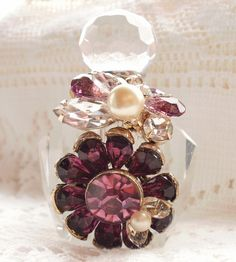 Purple Vintage Jewelry Bits Perfume Bottle