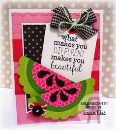 Card by Susan Liles. Reverse Confetti stamp set: sentiment from Fabulous Flamingo. Confetti Cuts: Circles 'n Scallops, Perfectly Paisley and Tag Me, Too. Friendship card. Encouragement card.