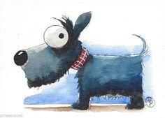Scotty dog art - ACEO Original watercolor whimsical animal painting art puppy dog Scotty dog #Folkartillustration
