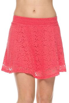 d9672780844b Cute Floral Print Flare A-Line Lace Skater Mini Flirty Skirt with Lining