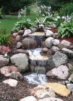 Creative backyard waterfall ideas #outdoorwaterfallfountainideas Small Backyard Landscaping, Ponds Backyard, Landscaping With Rocks, Landscaping Ideas, Backyard Ideas, Backyard Waterfalls, Rustic Backyard, Hillside Landscaping, Waterfall Landscaping