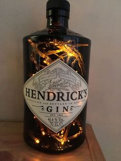 Hendrick's Gin Bottle High Quality UpCycled Lamp - 40 Warm White LED Lights