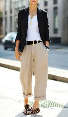 The Cuffed Wide Led Pant: medallion chains, tailored jackets and leopard loafers